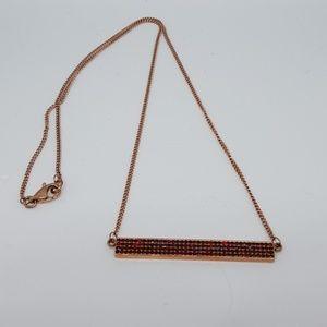 Rebecca Minkoff Rose gold Pave Bar necklace